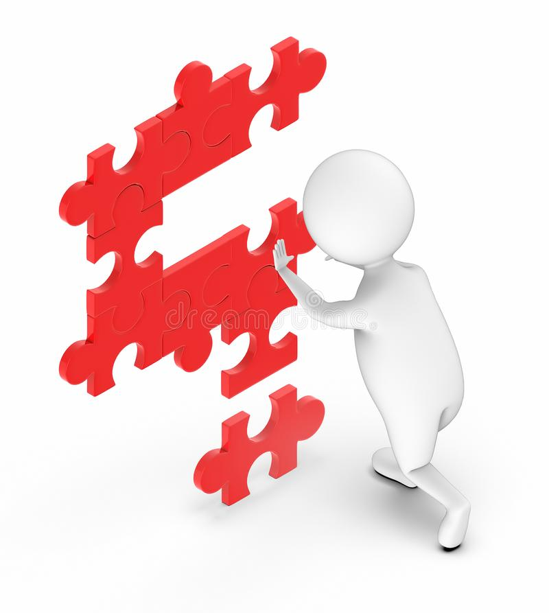 3d white people arranging jigsaws toghether to make a question mark. 3d rendering royalty free illustration