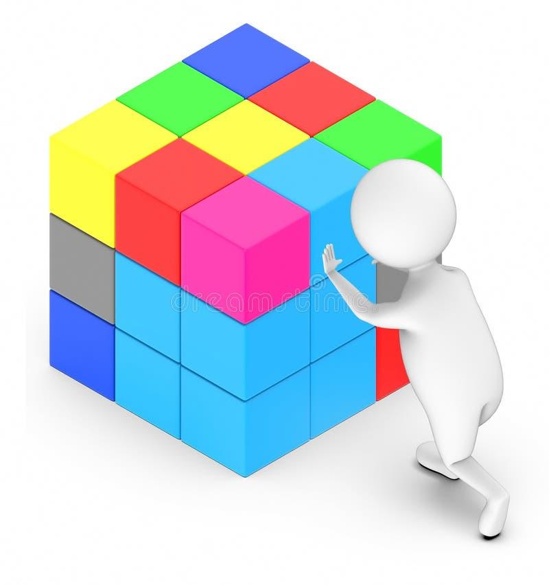 3d white people arranging a rubix cube. 3d rendering vector illustration