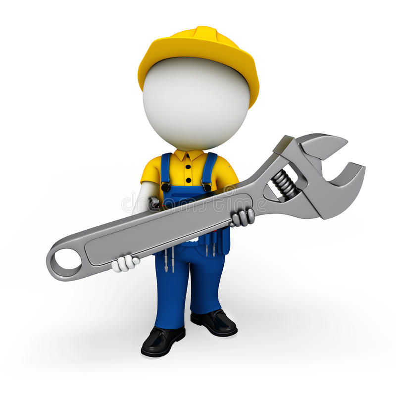 Download 3d White People As Plumber Holding Big Tool Stock Illustration - Image: 30828619