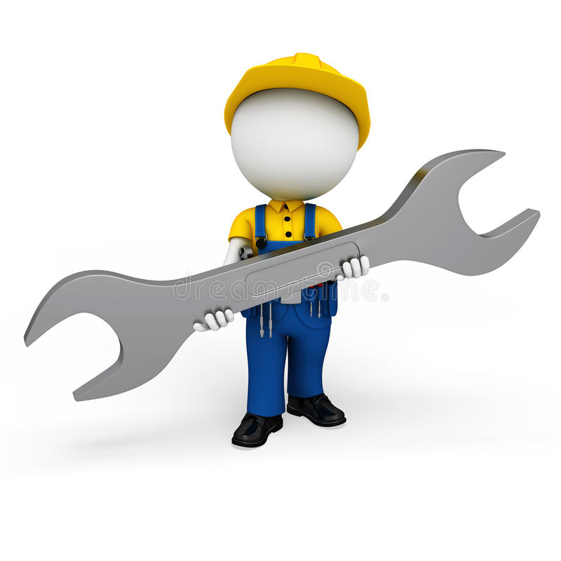 Download 3d White People As Plumber Holding Wrench Stock Illustration - Image: 30828629