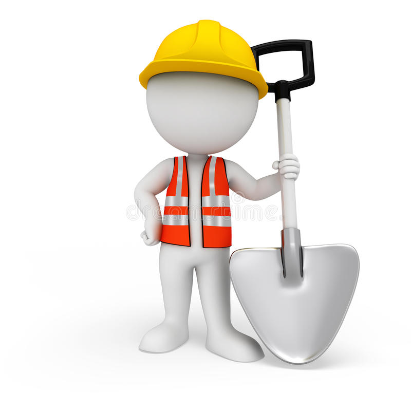 Download 3d White People As Road Worker Standing With Spade Stock Illustration - Image: 30858576