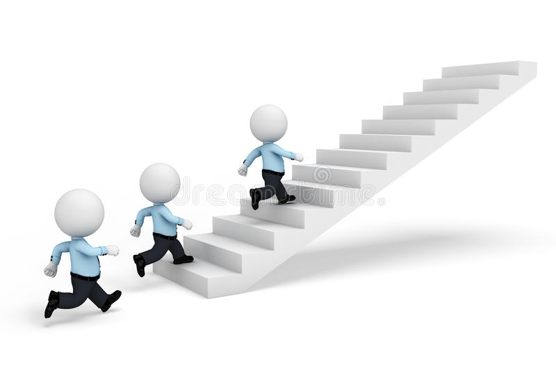 Download 3d White People As Serviceman Walking On Stairs Stock Illustration - Illustration: 31232757