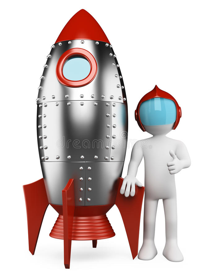 3D white people. Astronaut with spaceship stock illustration