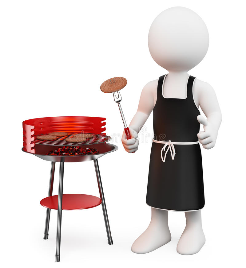 3D white people. Barbecue vector illustration