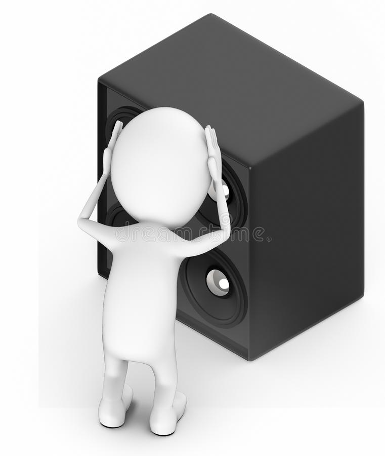 3d white people , both hands on head , headache , worry , burden - standing near to a large speaker - noise pollution stock illustration