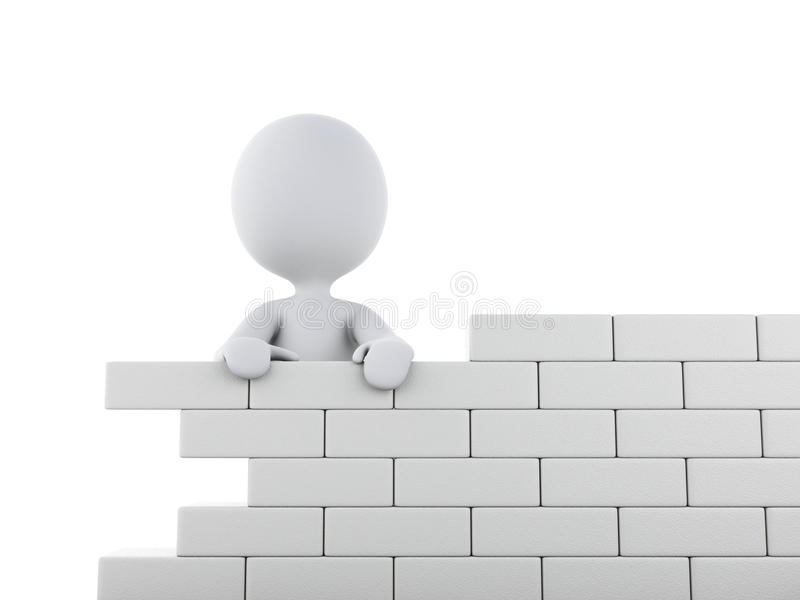 3d white people building a brick wall. 3d renderer image. White people building a brick wall. Isolated white background vector illustration