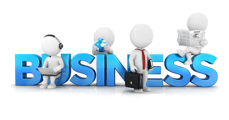 3d white people business concept vector illustration