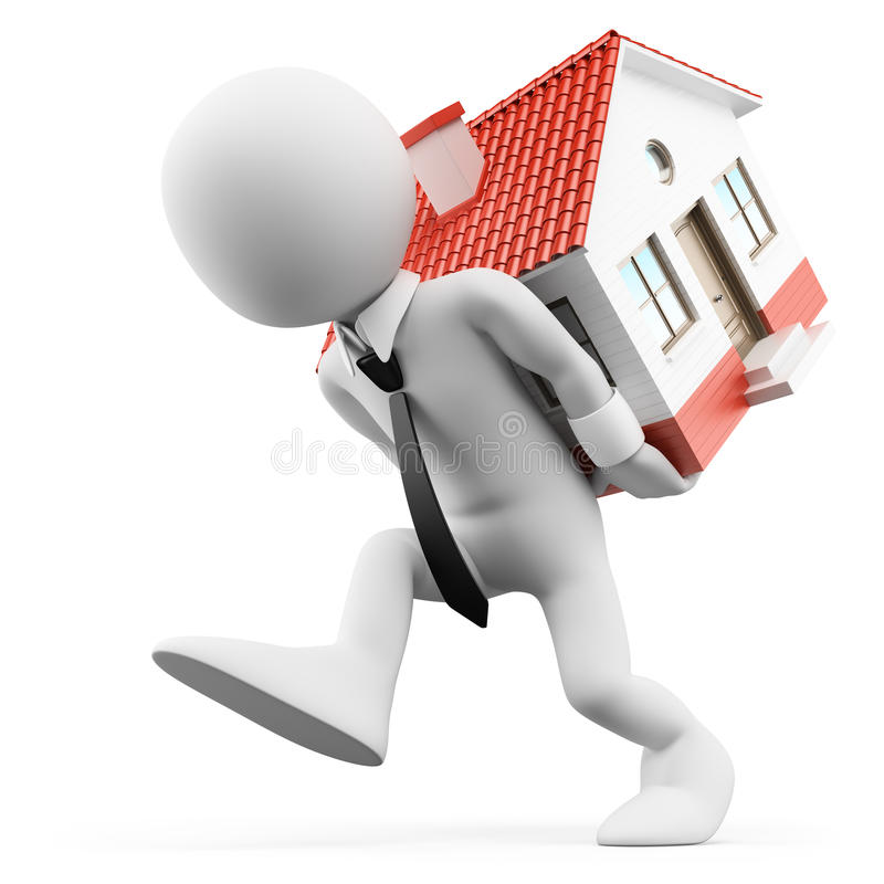 3D white people. Businessman carrying a house. Mortgage stock illustration