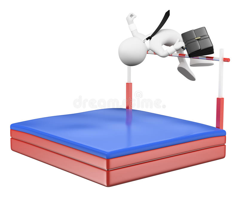 3D white people. Businessman competing in high jump. Overcoming