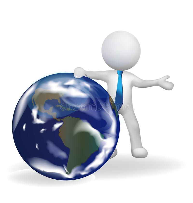 3D white people businessman with a earth globe stock illustration