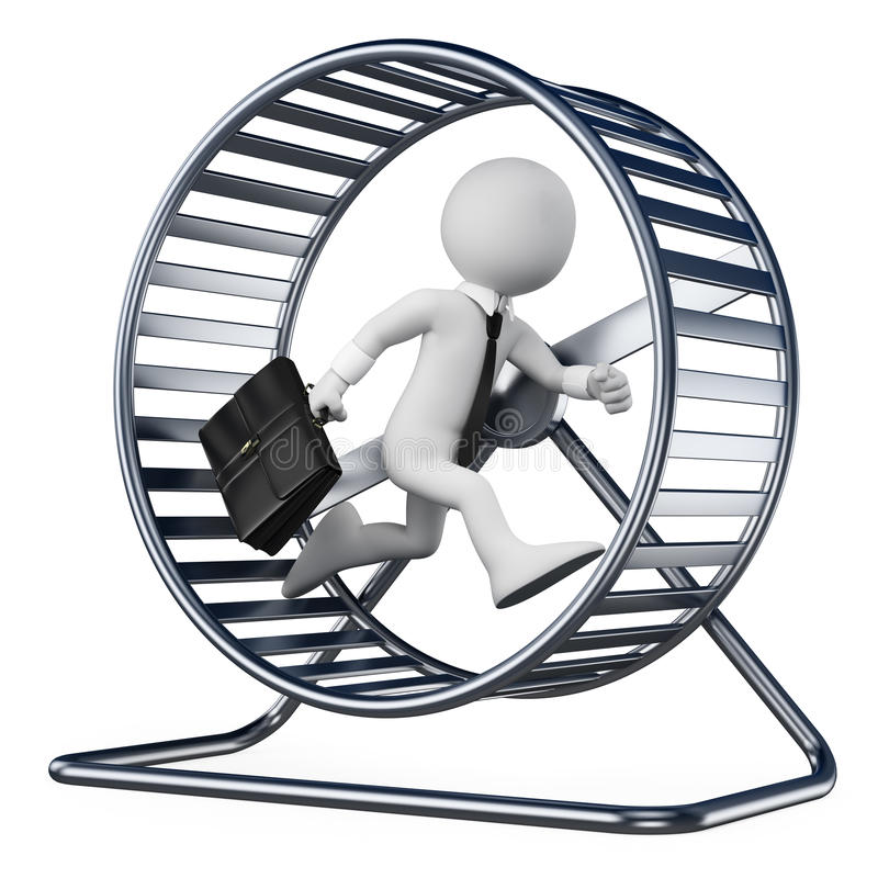 3D white people. Businessman in a hamster wheel. White background vector illustration