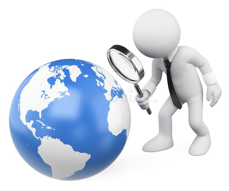 3D white people. Businessman looking at the earth with a magnifying glass royalty free illustration