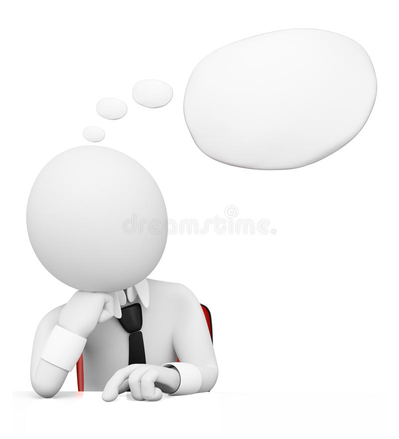 3D white people. Businessman with thought bubble royalty free illustration