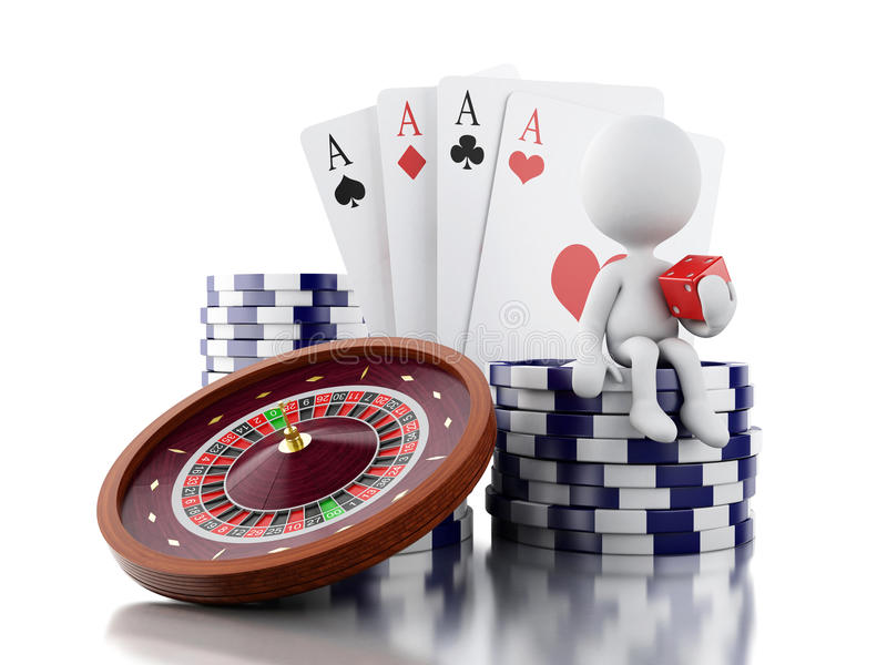 3d White people with casino roulette wheel, chips, poker cards a. 3d renderer image. White people with casino roulette wheel, chips, poker cards and dice royalty free illustration