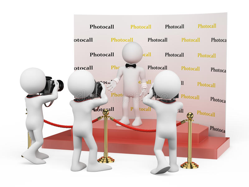3D white people. Celebrity in a photocall vector illustration
