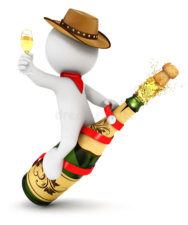3d white people champagne rodeo stock illustration