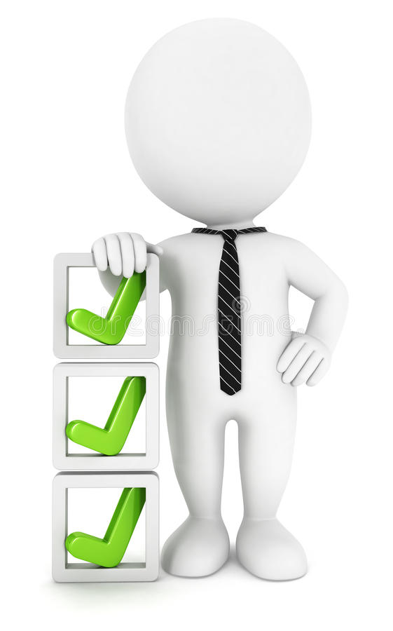 3d white people checklist royalty free illustration