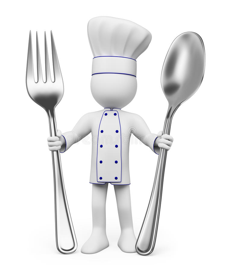 3D white people. Chef royalty free illustration