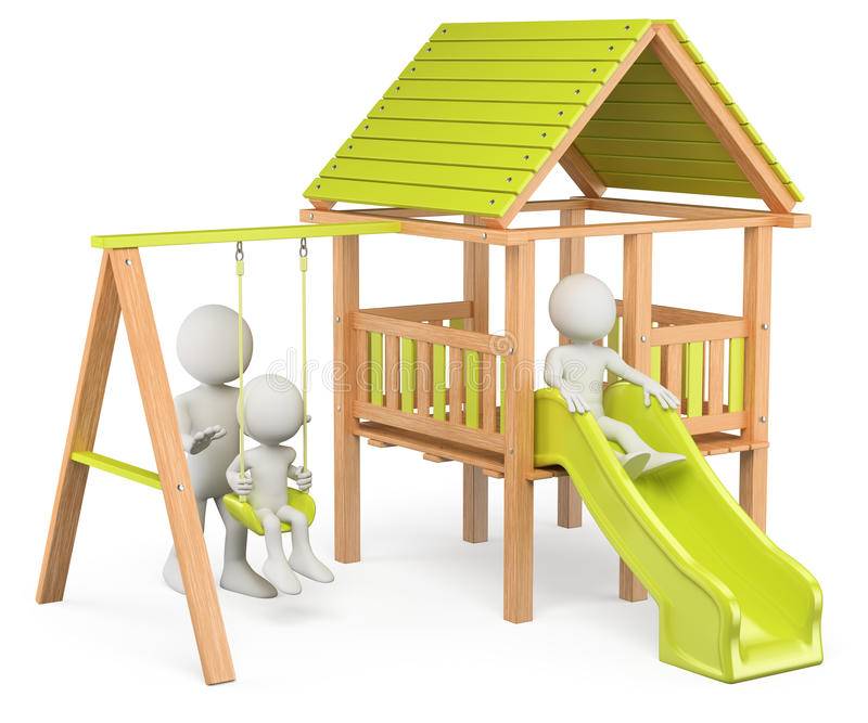 Download 3D White People. Children Playing On A Playground Stock Illustration - Illustration of child, green: 39009879