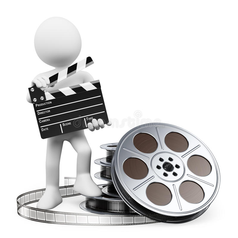 3D white people. Clapper board and film reel stock illustration