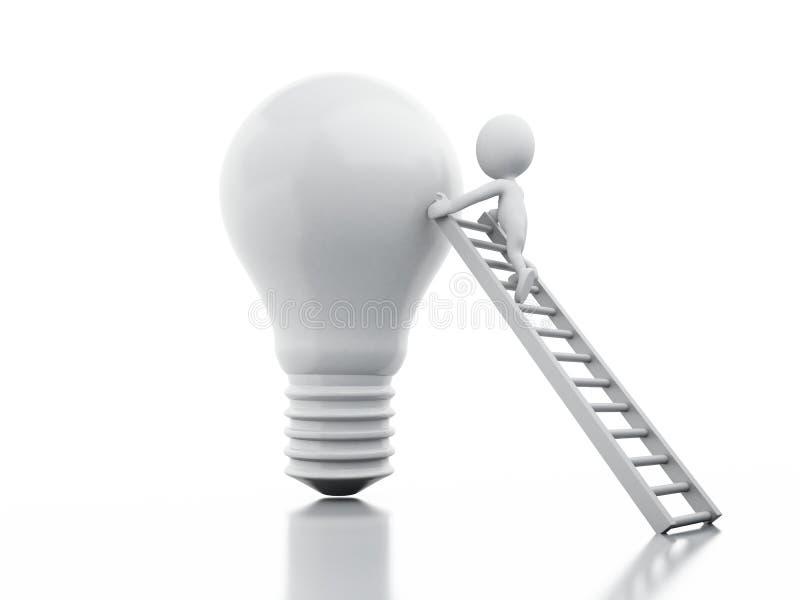 3d white people climbing on light bulb stock illustration