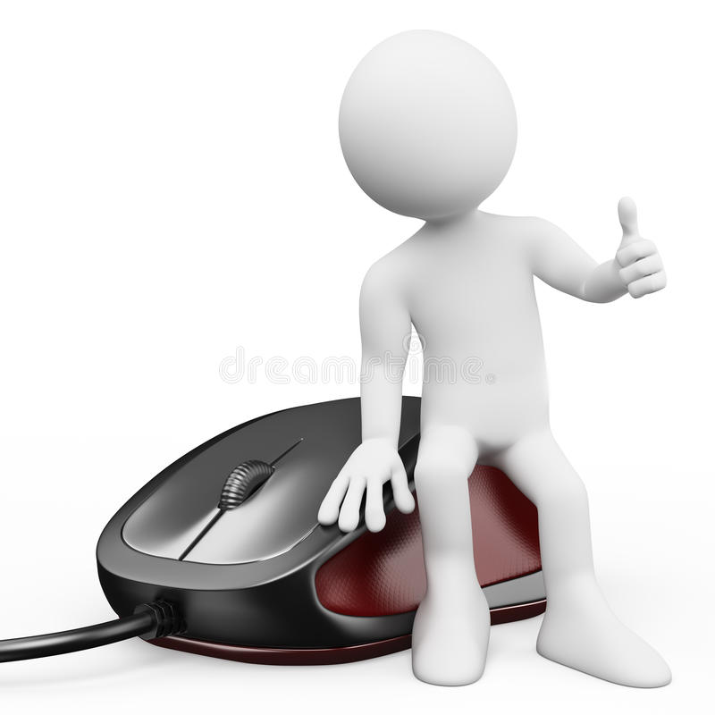 3D white people. Computer mouse. 3d white person sitting on a gaming computer mouse. White background stock illustration