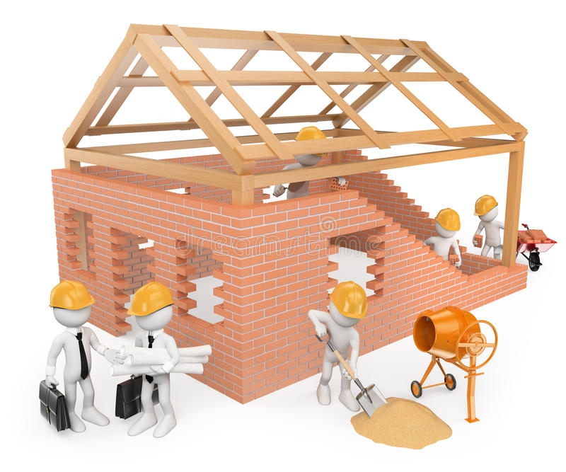 3D white people. Construction workers building a house royalty free illustration