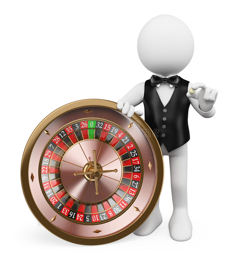 3D white people. Croupier with roulette in a casino royalty free illustration