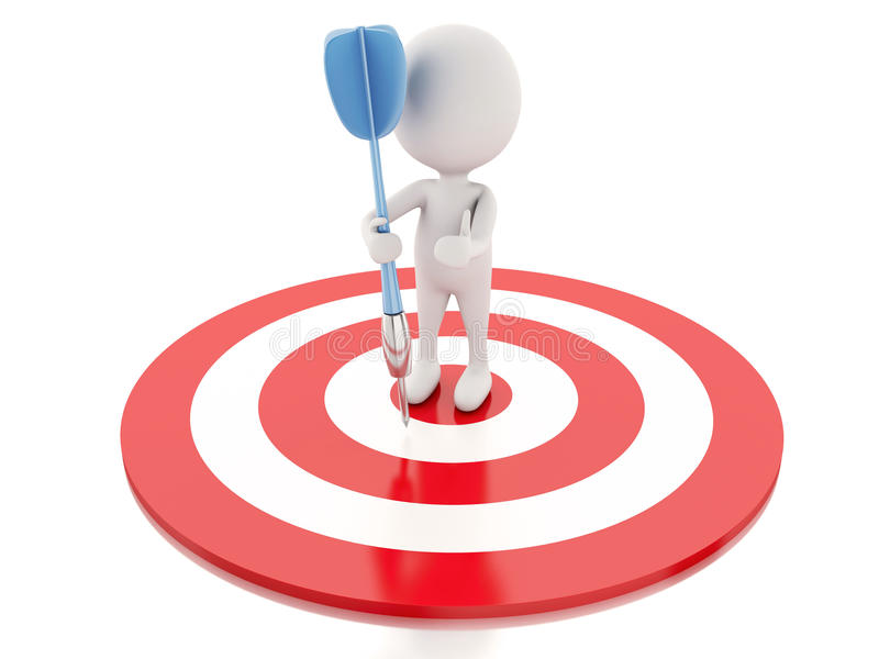 3d white people with darts and target. success in business vector illustration