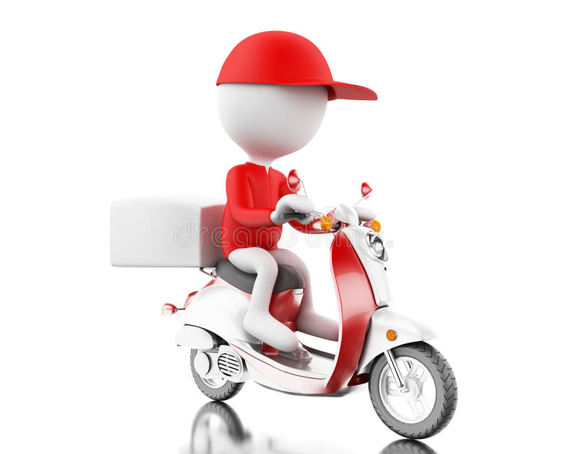 3d White people delivering boxes with motorbike on time. 3d ilustration. White people delivering boxes with motorbike. Fast moving and delivery concept. Isolated vector illustration