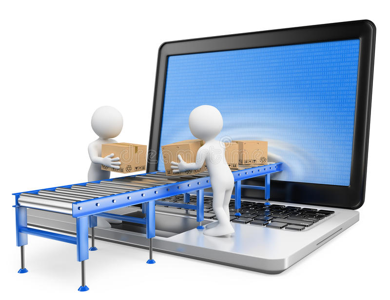 3D white people. Delivering packages through a laptop screen. White background stock illustration