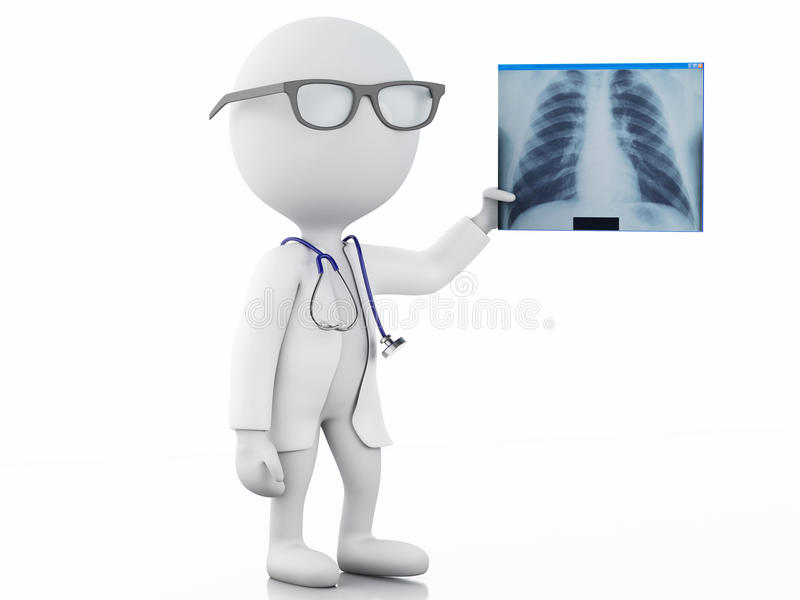 3d white people doctor with radiography royalty free illustration