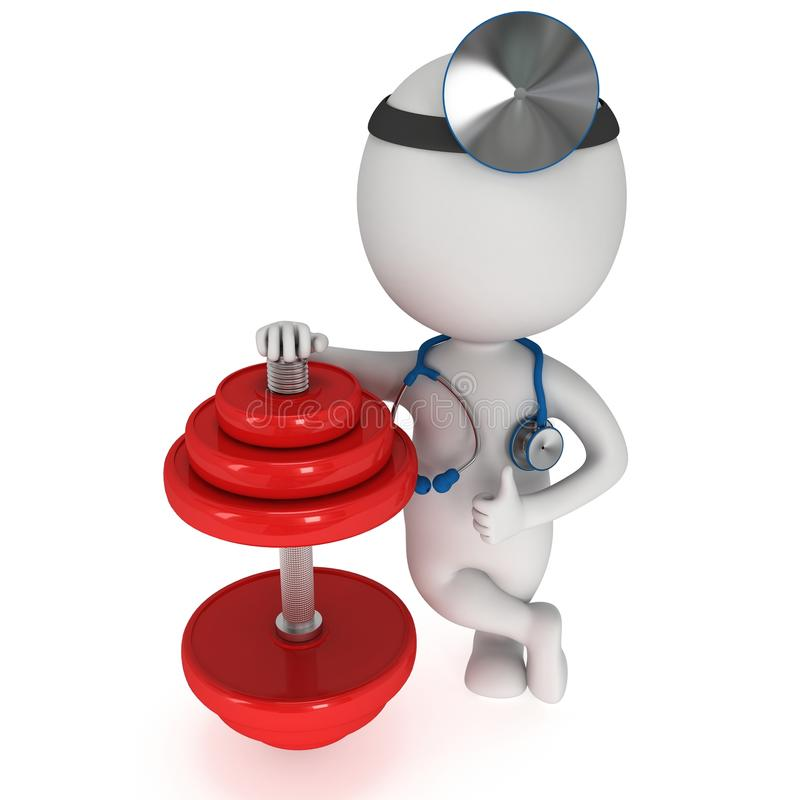 3d white people doctor with red dumbbell vector illustration