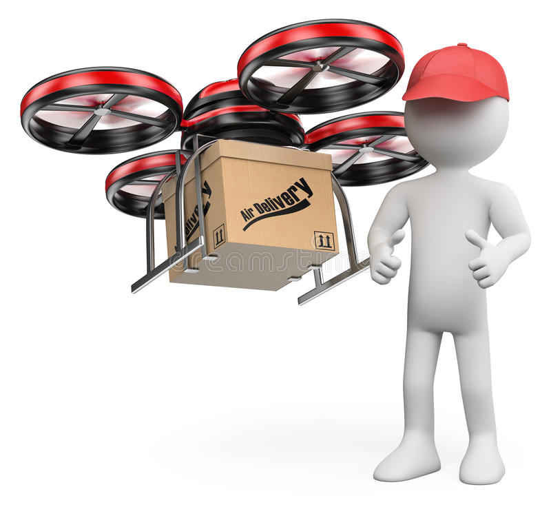 3D white people. Drone delivering a package royalty free illustration