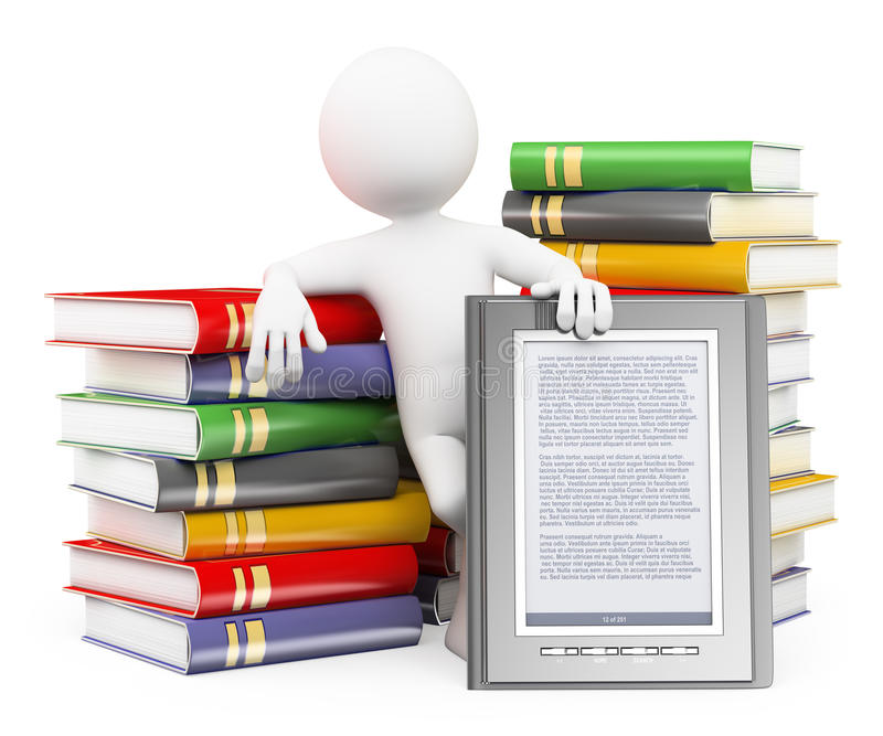 3D white people. Ebook reader concept royalty free illustration