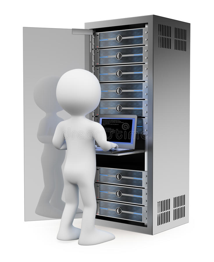 3D white people. Engineer in rack network server room stock illustration