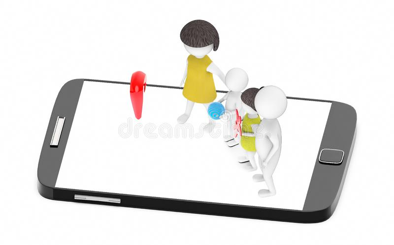 3d white people , family ,father,mother, son, daughter -mobile phone and location sign stock illustration