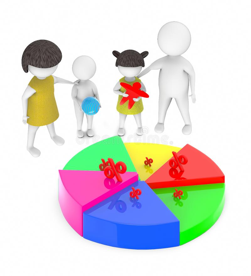 3d white people , family ,father,mother, son, daughter -pie chart percentage sign royalty free illustration