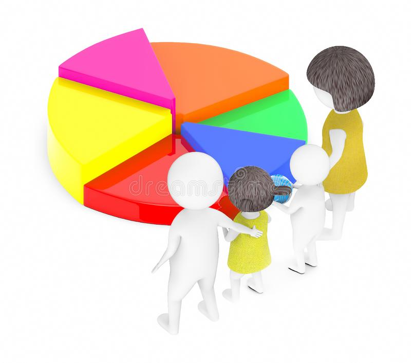 3d white people , family ,father,mother, son, daughter -pie chart vector illustration