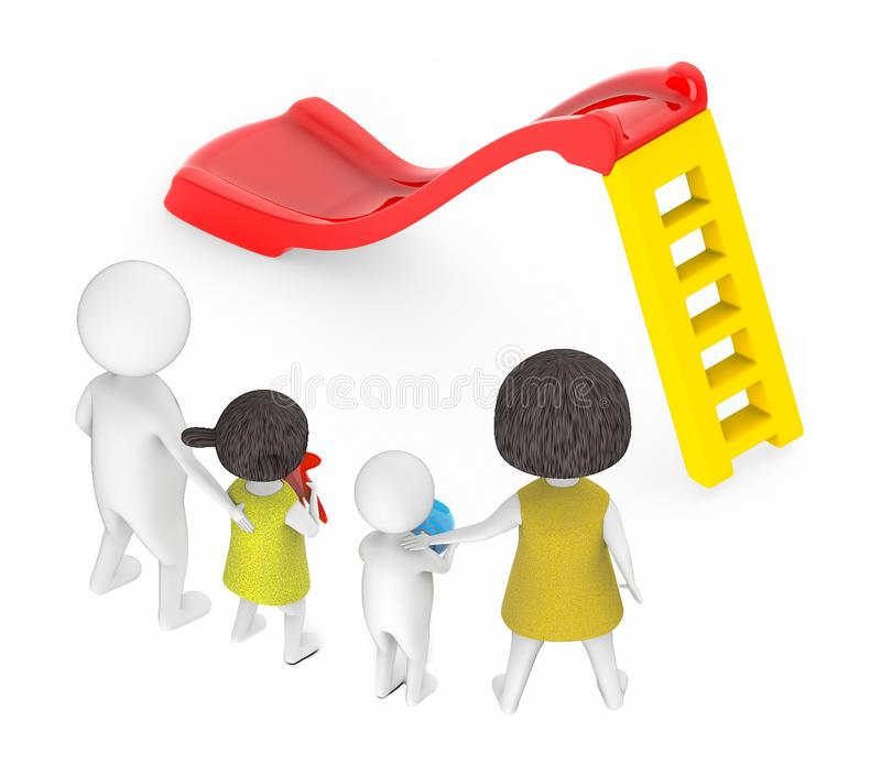 3d white people , family ,father,mother, son, daughter -red and yellow slider play. 3d rendering stock illustration