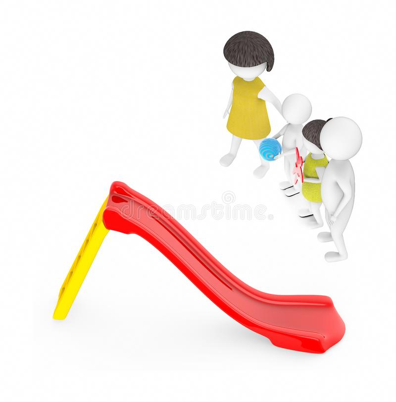 3d white people , family ,father,mother, son, daughter -red and yellow slider play. 3d rendering vector illustration