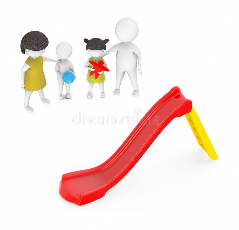 3d white people , family ,father,mother, son, daughter -red and yellow slider play. 3d rendering royalty free illustration