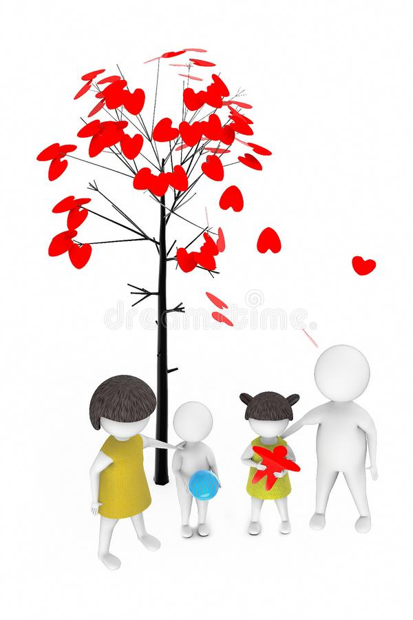 3d white people , family ,father,mother, son, daughter -tree with love shaped leaves stock illustration