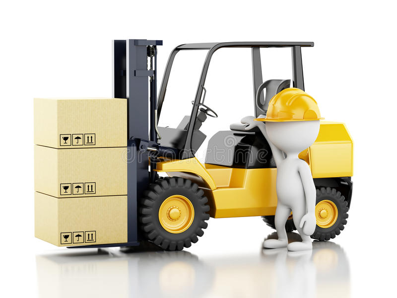 3d white people with a forklift and cardboard boxes vector illustration