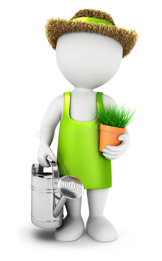3d white people gardener with a watering can vector illustration
