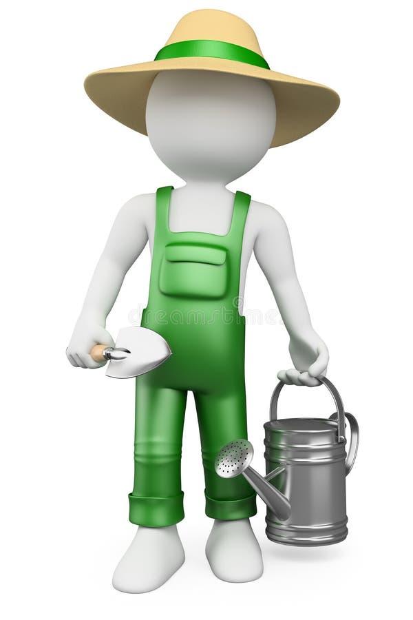3D white people. Gardener vector illustration