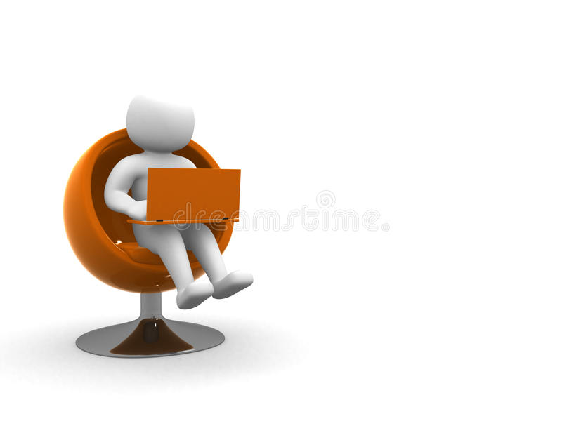 3d white people global manager seated on a chair with laptop, is royalty free illustration