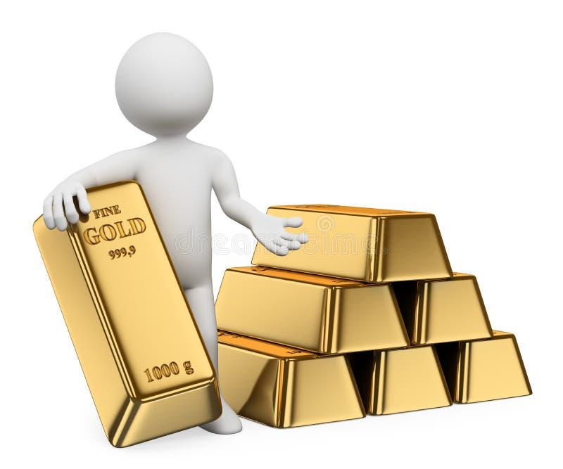 3D white people. Gold ingots. Bullion. 3d white people. Man with lots of gold bullion. Ingots. White background vector illustration