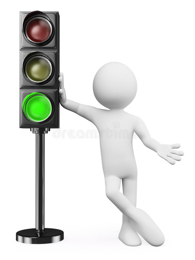 3D white people. Green traffic light royalty free illustration