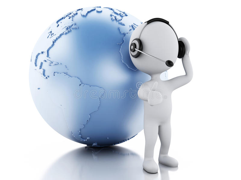 3d white people with headphones and earth globe royalty free illustration
